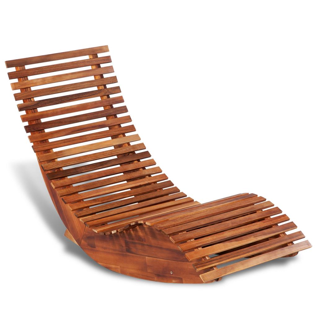Vidaxl c chaise longue bascule en bois Chaise longue double a bascule