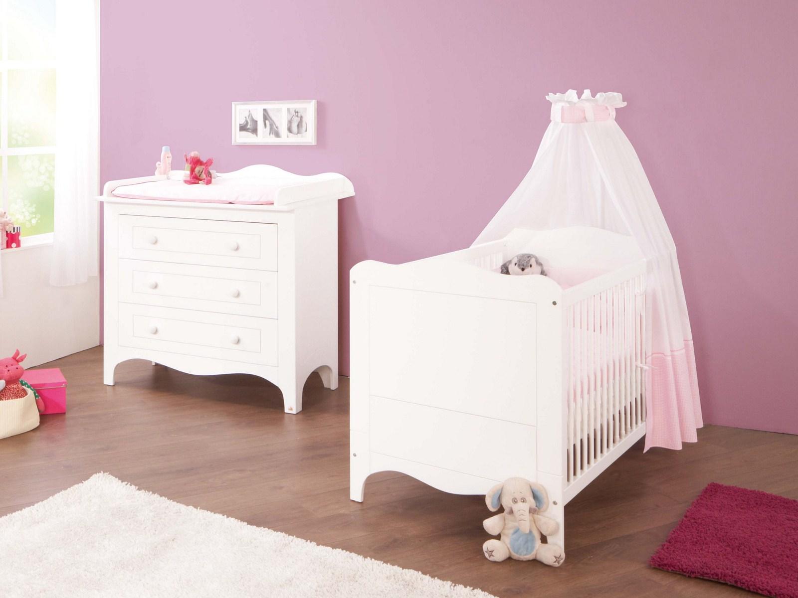 Pinolino Chambre bébé Fleur blanc: Lit évolutif commode à